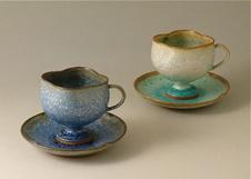 ロクロ成型による「銀河釉 珈琲碗皿」