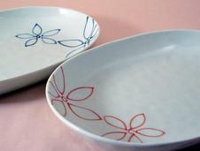 陶彩弁当の器、楕円皿(中)の新柄