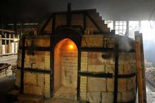 薪窯焼成風景