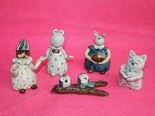 陶人形『ピエロ』『カエル』『ウサギ』『ネコ』『フクロウ』